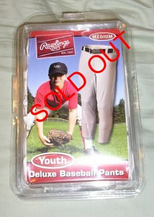 NEW Rawlings Deluxe Baseball Pants - White Youth Medium SAVE!