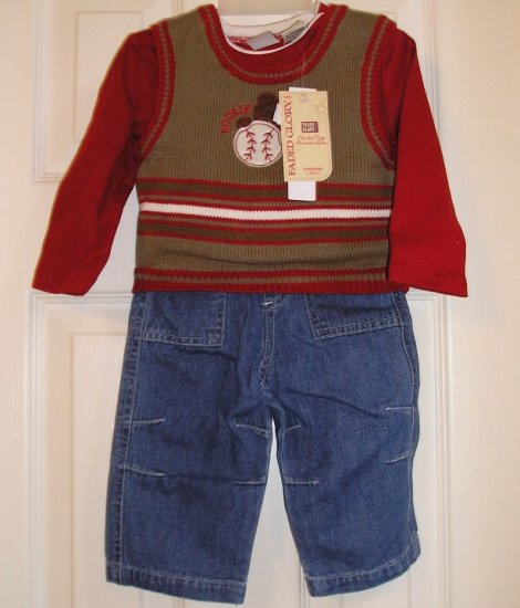 Faded Glory 3 Pc Boys Sports Set Jeans More 6-9 MonthsNEW