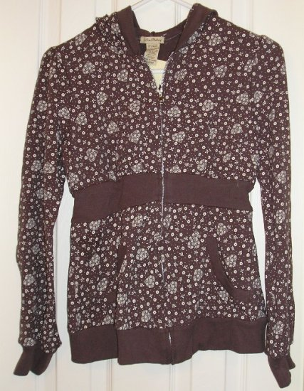 One Clothing Brown Zip Front Floral Hooded Shirt Top NEW Juniors Medium
