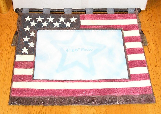 New Patriotic American Flag Picture Frame in Box 6 x 4