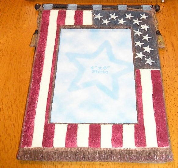 New American Patriotic Flag Picture Frame in Box 4 x 6