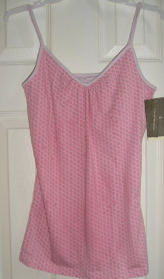 New Merona Pink Daisy Camisole + Built in BRA XS