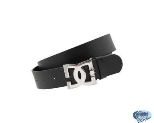 DC Skate Black Leather Belt - Mens Large DC Belt Star II Teens Skateboarding NEW