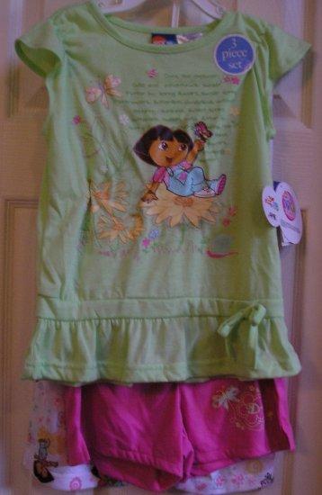 Dora the Explorer Sleep Wear Pajamas 3 Pc Set NEW Size 6