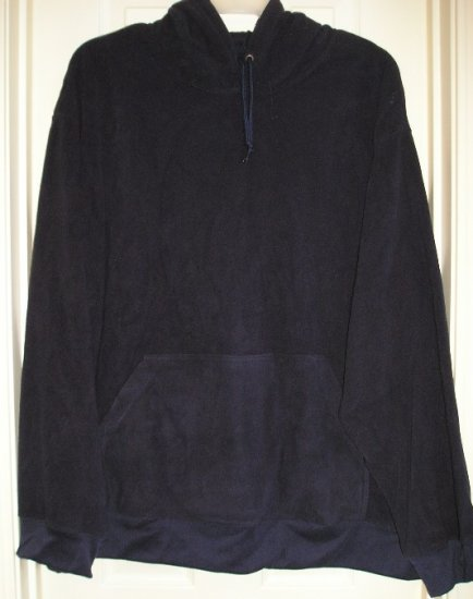 Mens 2XL Hooded Fleece Navy Blue Hoodie Traditional Style NEW