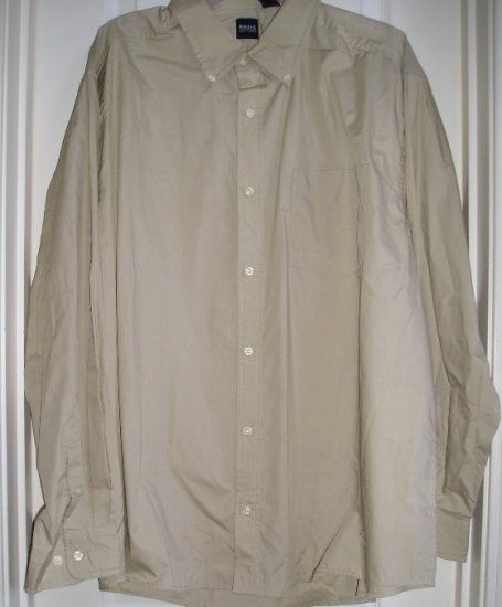 Mens Tan Oxford Button Down Shirt Top XL Mens