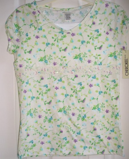 Cherokee Girls XL Extra Large Floral Bell Cap Sleeve Top NEW