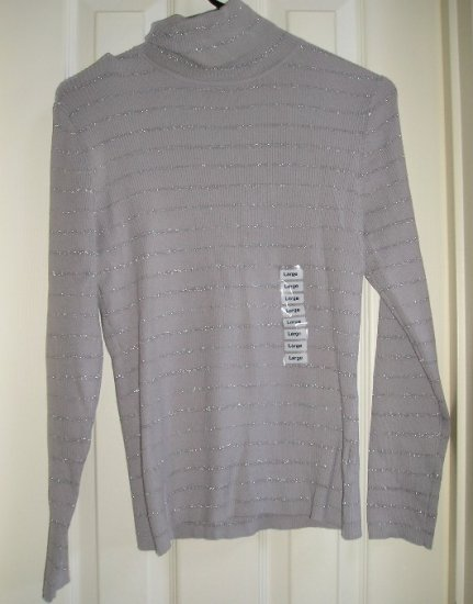 Style & Co Company Womens Petite Large Gray Sweater Glitter Stripes NEW
