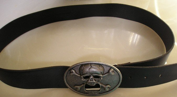 Black Mens Belt with Skull Buckle Skate Gothic Medium NEW