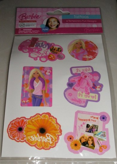 NEW Barbie Tattoos 6 Temporary Fun Designs