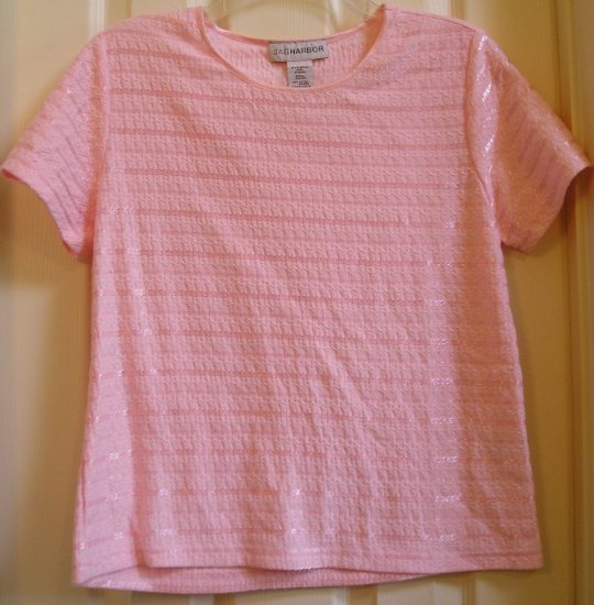 Sag Harbor Womens Shirt Top Pink Textured Small NEW