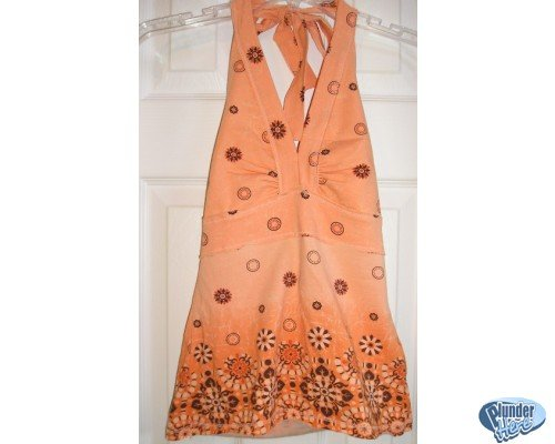 SO Junior Size Halter Top Tie-Neck Sz. Small ORANGE Design NEW