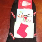 Christmas Candy Cane Black Socks with Card Holder NEW