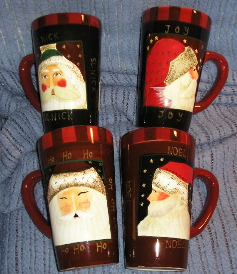Oneida Sakura Santa Portraits 4 Latte Cup Set NEW