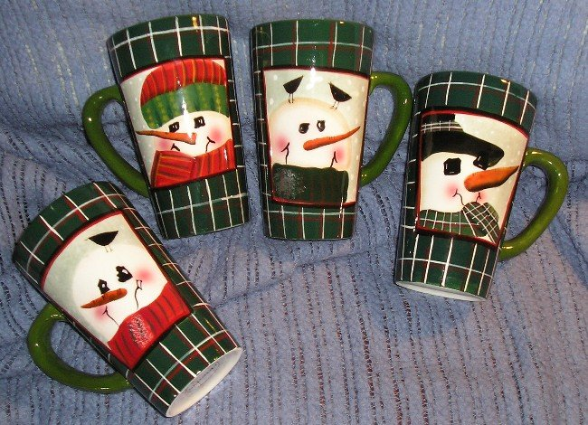 Oneida Sakura Snowmen Snow Men Portraits 4 Latte Cup Set NEW