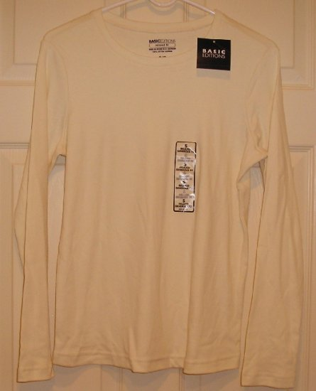 Basic Editions Womens Shirt Junior Girls Teens Top Small Long Sleeve TShirt NEW