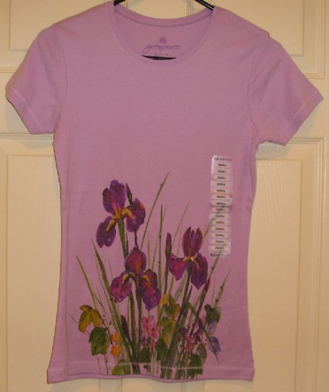 GreenSource Womens Teens Violet Floral T-Shirt Top Small New