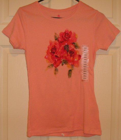 GreenSource Womens Teens Peach Floral T-Shirt Top Small NEW