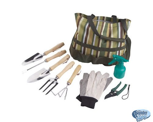 Garden Gardening Tool Set 9 Pieces + Canvas Tote Carrier Included NEW