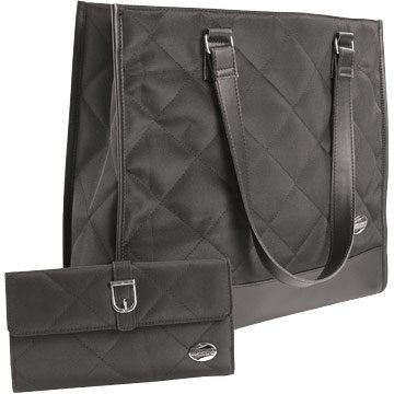 Black Tote Carry Bag and Wallet Set Large Size Quilted NEW