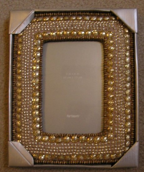 Pier1 Pier 1 Imports Gold Beaded Frame Desktop 5 x 7 NEW