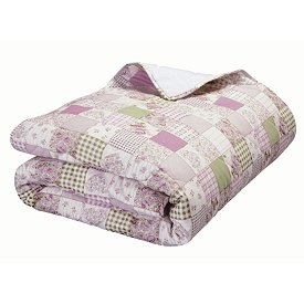 Pink Patchwork Throw or Blanket NEW 50 x 60 Quilted Pinks