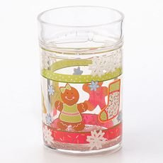NEW Set of 4 Holiday Christmas Floater Glasses Snowing Glass Set