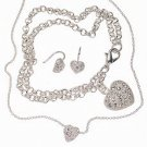 Cubic Zirconia Heart Jewelry Set Necklace Earrings Bracelet NEW + Gift Box