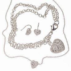 Cubic Zirconia Heart Jewelry Set Necklace Earrings Bracelet NEW + Gift Box