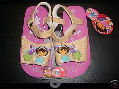 Dora the Explorer Sandals Tan with Pink Sz 11/12 NEW