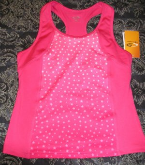 Champion C9 Girls Duo Dry Stretch Sports Tank XL Hot Pink Stars NEW