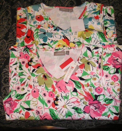 Lot of 2 NEW Stretch Tank Tops Womens Extra Large Floral Design 2 for 1 NEW