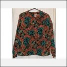 Womens Career Blouse Top Paisley LS Medium CLEARANCE