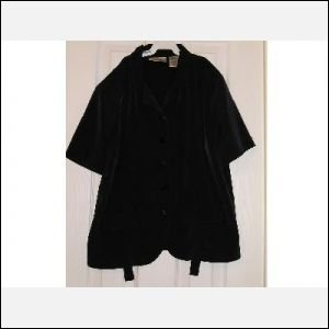 Womens Black SS Career or Casual Blouse - Size 8 CLEARANCE VINTAGE