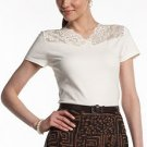Chaps Womens Lace Trim Top or Tee Size Extra Large Cream Off-White with TAGS