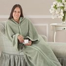 Cozy Wrap Up Blanket Like Snuggy FLEECE Wrap Sleeves Front Closure in PKG.