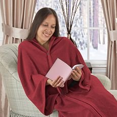 Cozy Wrap Up Blanket Like Snuggy FLEECE Wrap Sleeves Front Closure in PKG.