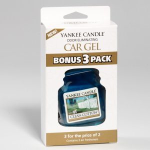 Yankee Candle Car Gel Bonus 3 Pack Clean Cotton Scent Sealed Car Fresheners