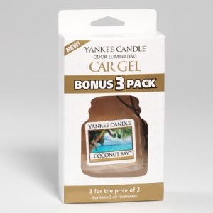 Yankee Candle Car Gel Bonus 3 Pack Coconut Bay Scent Sealed Car Fresheners