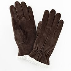Isotoner Womens Suede Gloves Size Large Brown Winter Gloves