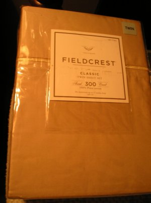 FieldCrest 300 TC Twin Classic Sheet Set Tan Color 100% Pima Cotton New