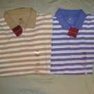 Lot of 2 Striped Polo Shirt Shirts Mens Short Sleeve Sz XL  with TAGS Tan Blue