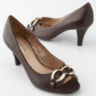 Croft Barrow BROWN Women's Dress Heels Open Toe Shoes Size 8 Womens Dress Hills Brown NEW