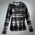 Vera Wang Plaid Top Shirt Tee Long Sleeves Black White Sz. Extra Small NEW