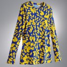 Vera Wang Abstract Top Shirt Tee Long Sleeves Blue Yellow Sz. Extra Small NEW