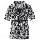 My Michelle Black White Mock Layer Shirt Top Girls Medium + Bonus Belt NEW