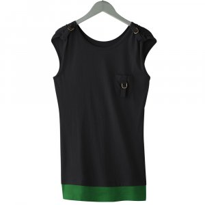 BLACK Sleeveless Mock-Layer Tee or T-Shirt by Energie Juniors Size Medium