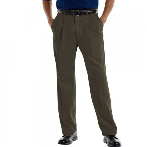 Mens Khaki Slacks Pants 38 x 30 Pleated Front Classic Fit Croft Barrow NEW Green