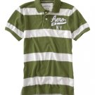 Aeropostale Heathered Graphic Jersey Polo Mens Green Polo Shirt Short Sleeve Sz 2XL NEW
