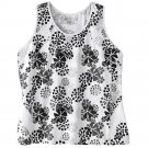 Tek Gear Sports Racerback Performance Top or Tank Black White Floral Design Sz 2X NEW